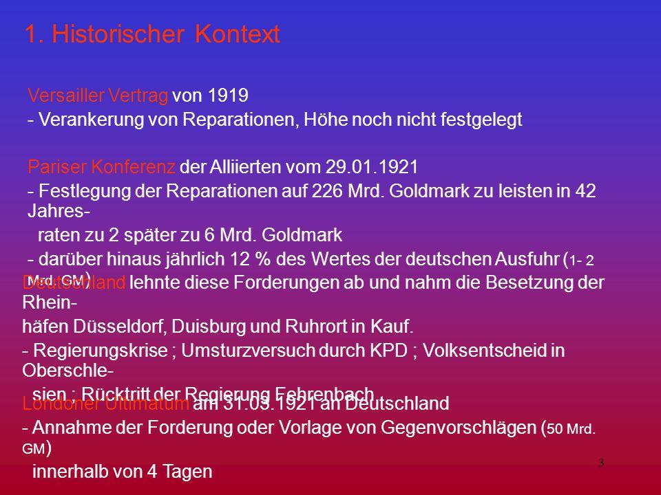 1. Historischer Kontext Versailler Vertrag von 1919