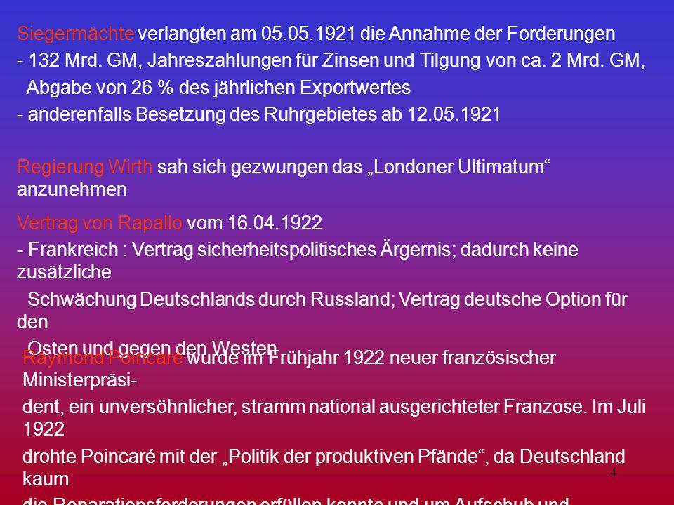 Siegermächte verlangten am 05.05.1921 die Annahme der Forderungen