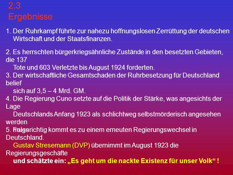 2.3 Ergebnisse 1. Der Ruhrkampf führte zur nahezu hoffnungslosen Zerrüttung der deutschen. Wirtschaft und der Staatsfinanzen.