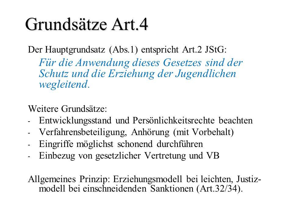 Grundsätze Art.4 Der Hauptgrundsatz (Abs.1) entspricht Art.2 JStG: