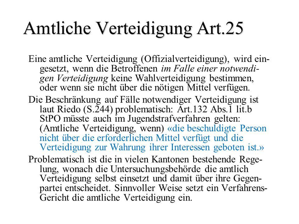 Amtliche Verteidigung Art.25