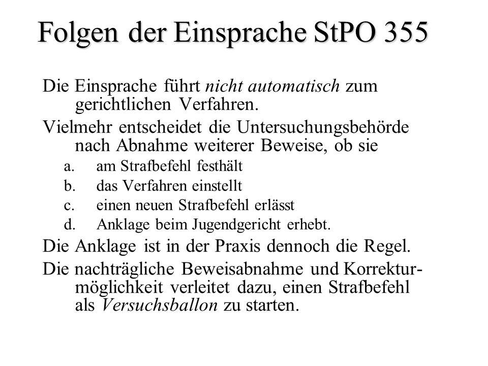 Folgen der Einsprache StPO 355