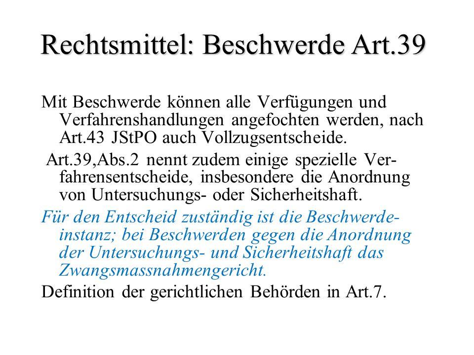 Rechtsmittel: Beschwerde Art.39