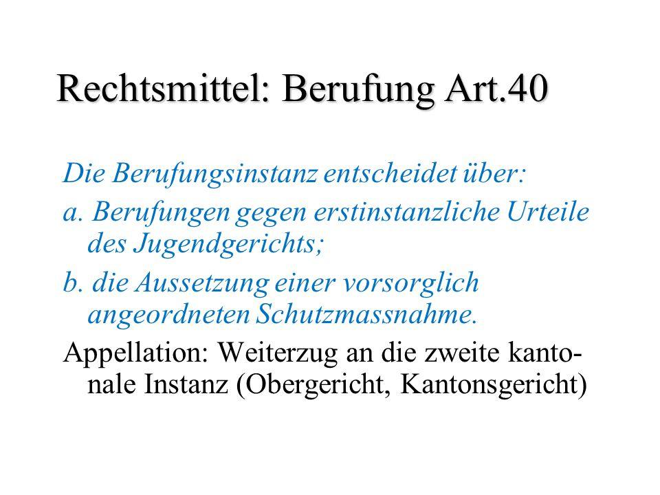 Rechtsmittel: Berufung Art.40