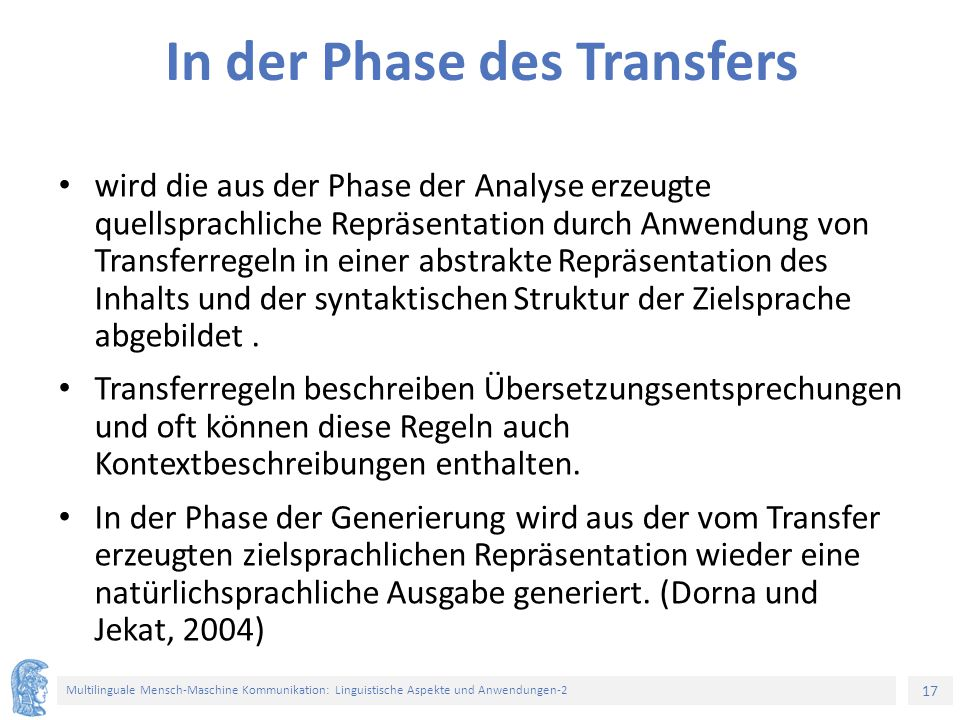 In der Phase des Transfers