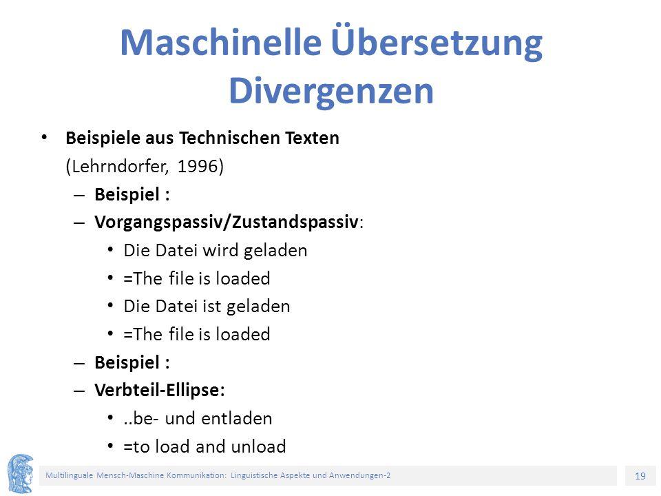Maschinelle Übersetzung Divergenzen