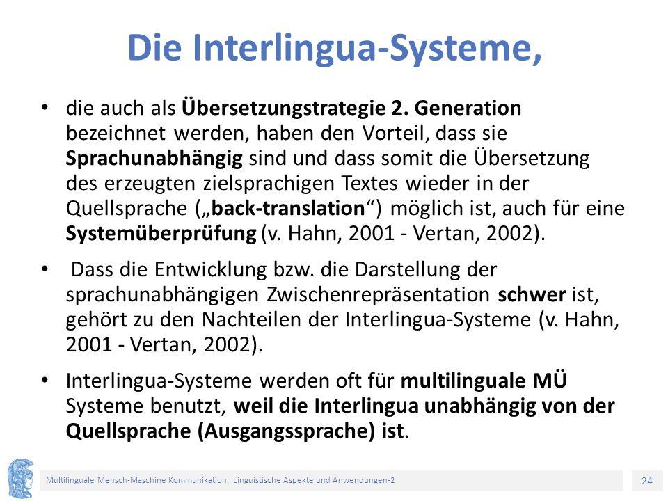 Die Interlingua-Systeme,
