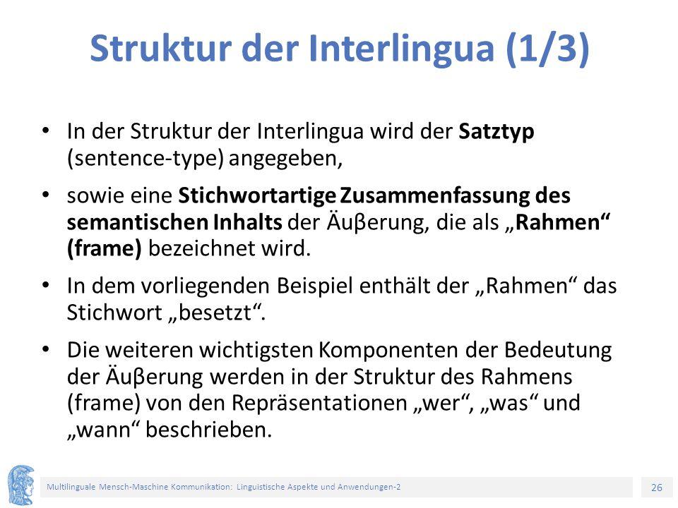 Struktur der Interlingua (1/3)