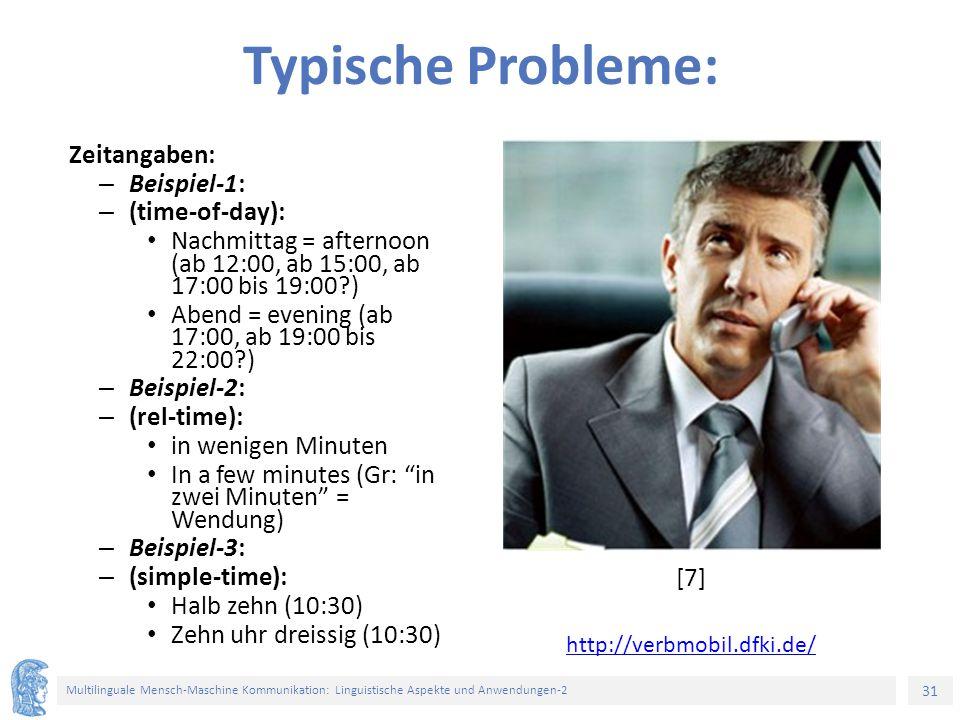 Typische Probleme: Zeitangaben: Beispiel-1: (time-of-day):
