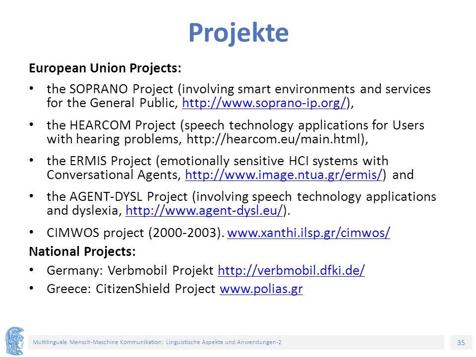 Projekte European Union Projects: