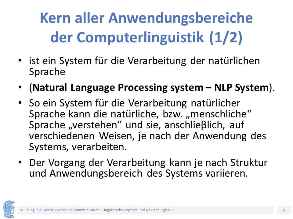 Kern aller Anwendungsbereiche der Computerlinguistik (1/2)