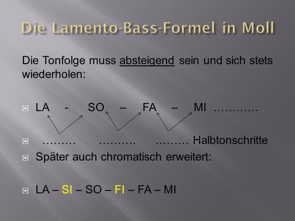 Die Lamento-Bass-Formel in Moll