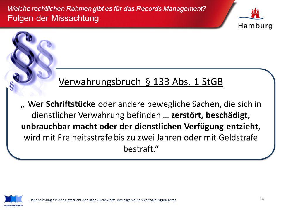 Verwahrungsbruch § 133 Abs. 1 StGB