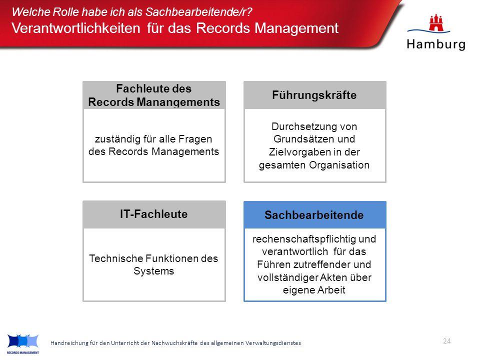 Verantwortlichkeiten für das Records Management