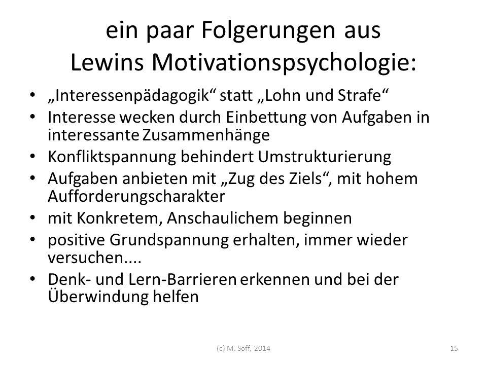 ein paar Folgerungen aus Lewins Motivationspsychologie: