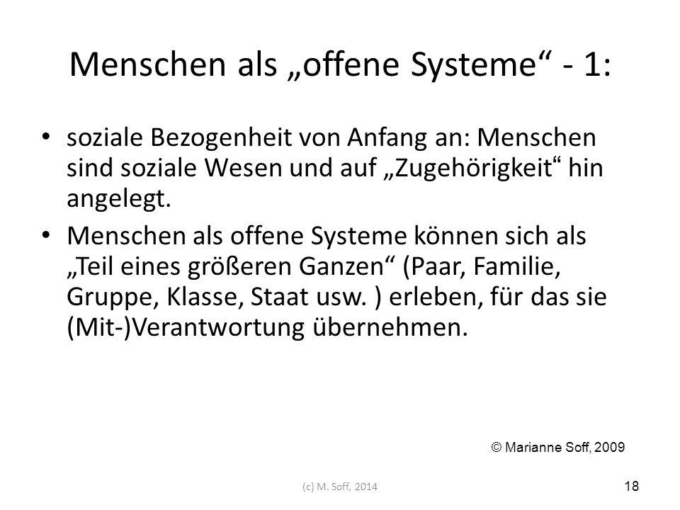 """Menschen als """"offene Systeme - 1:"""