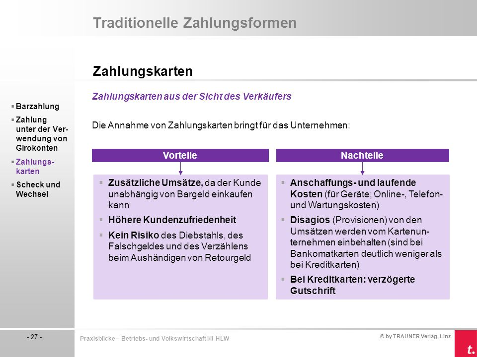 Traditionelle Zahlungsformen