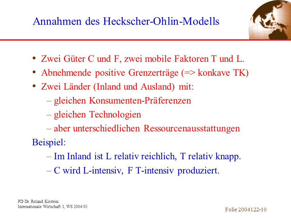 Annahmen des Heckscher-Ohlin-Modells