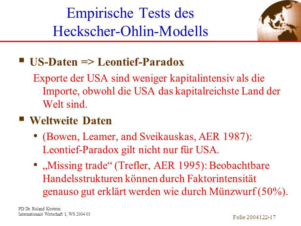 Empirische Tests des Heckscher-Ohlin-Modells