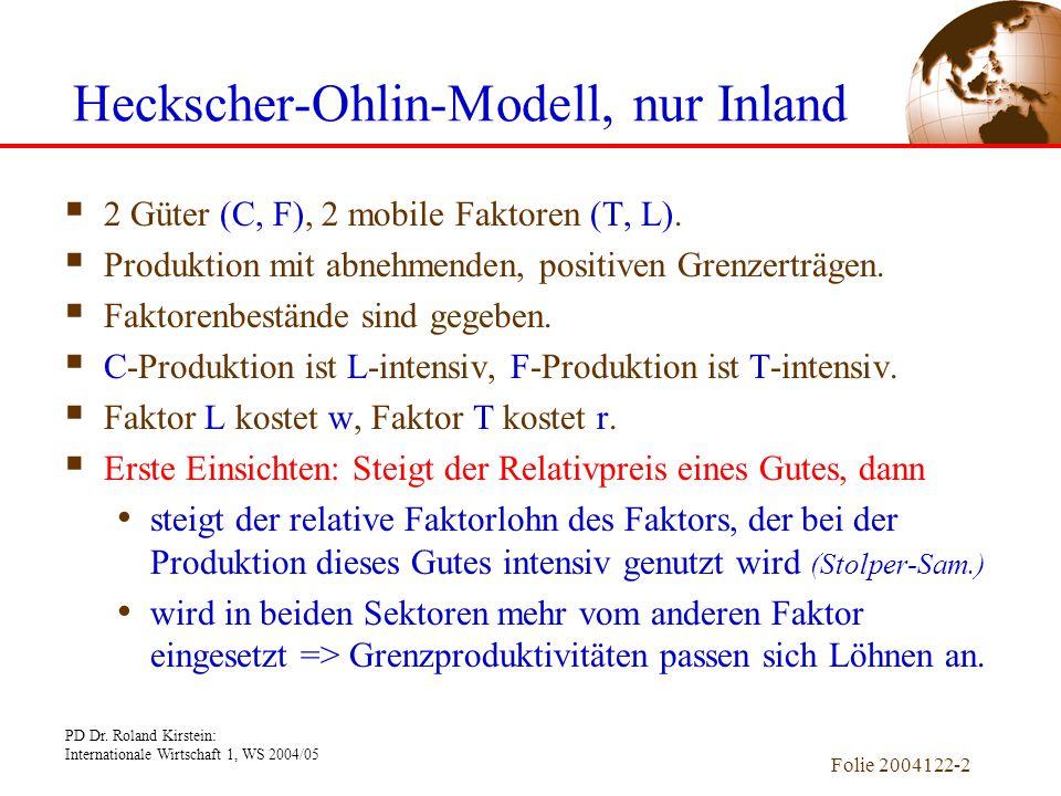 Heckscher-Ohlin-Modell, nur Inland