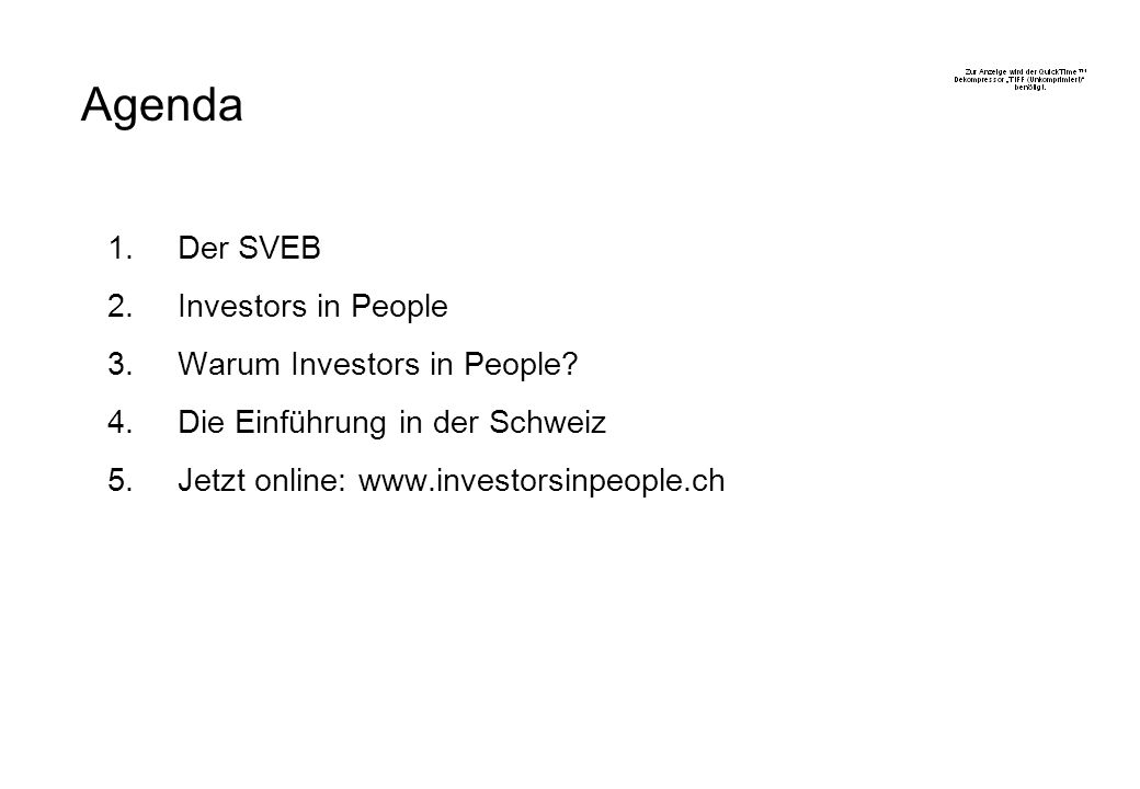 Agenda Der SVEB Investors in People Warum Investors in People