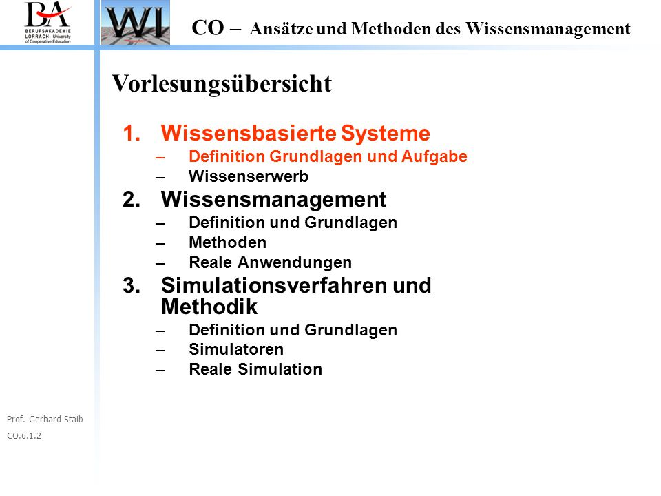 Vorlesungsübersicht Wissensbasierte Systeme Wissensmanagement