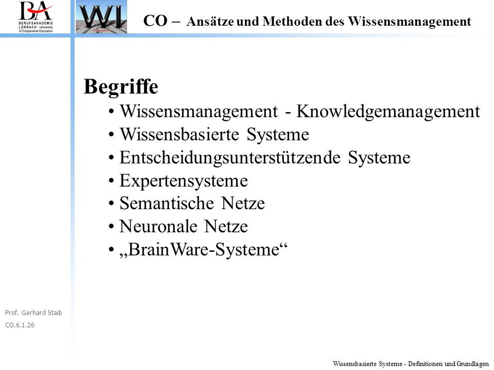 Begriffe Wissensmanagement - Knowledgemanagement