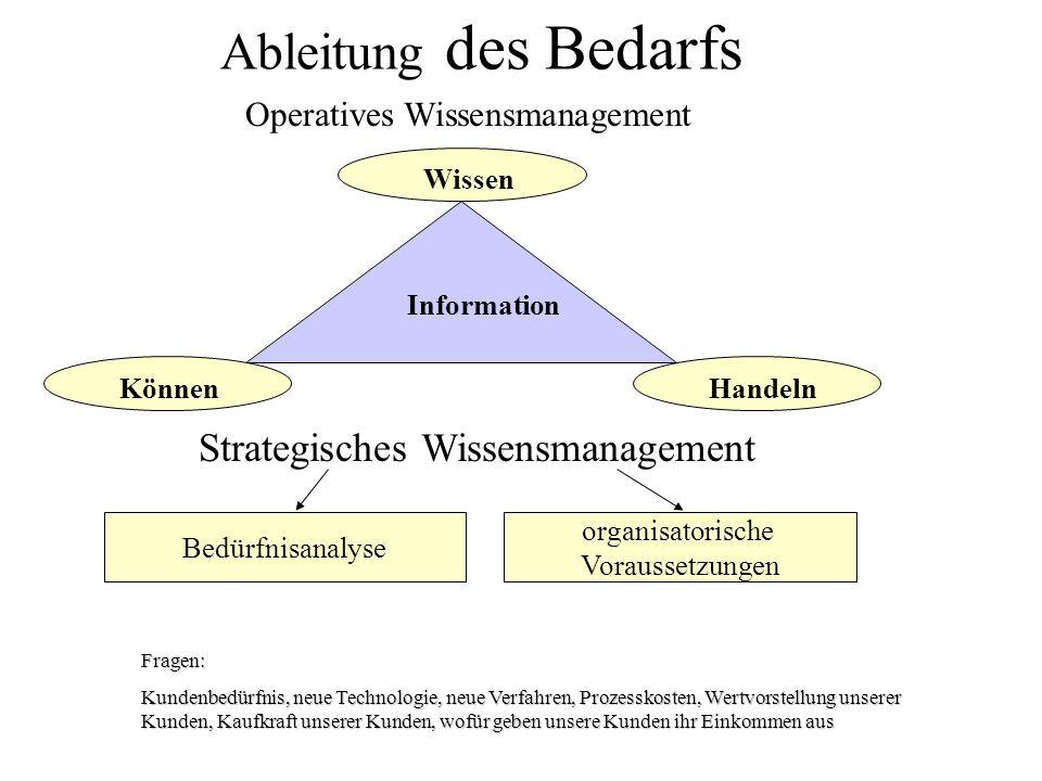 Ableitung des Bedarfs Strategisches Wissensmanagement