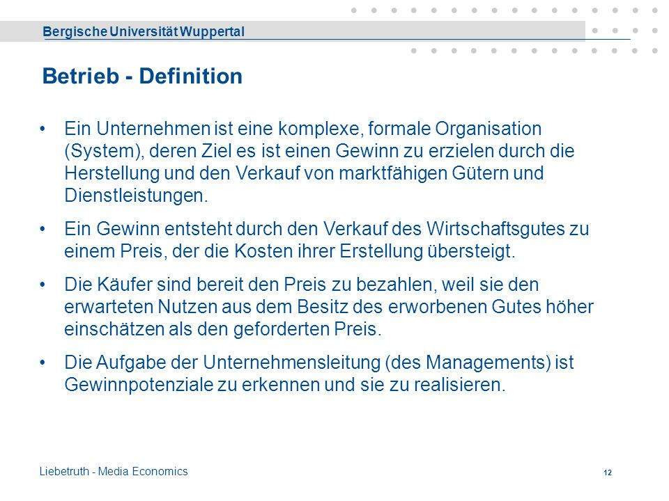 Betrieb - Definition