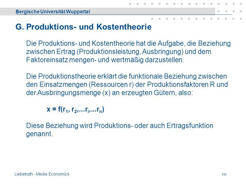G. Produktions- und Kostentheorie