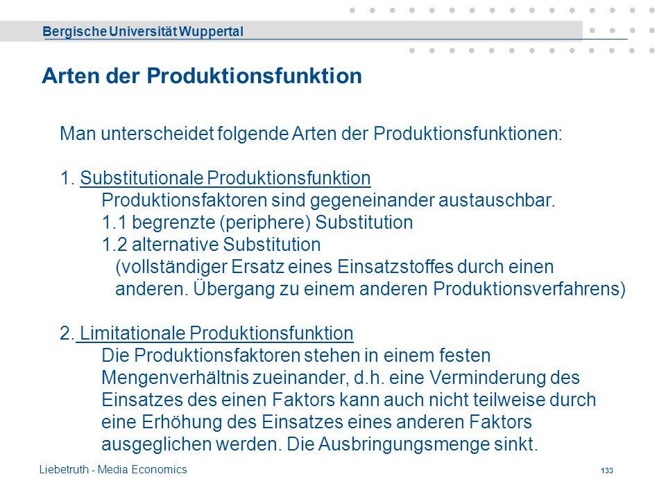 Arten der Produktionsfunktion