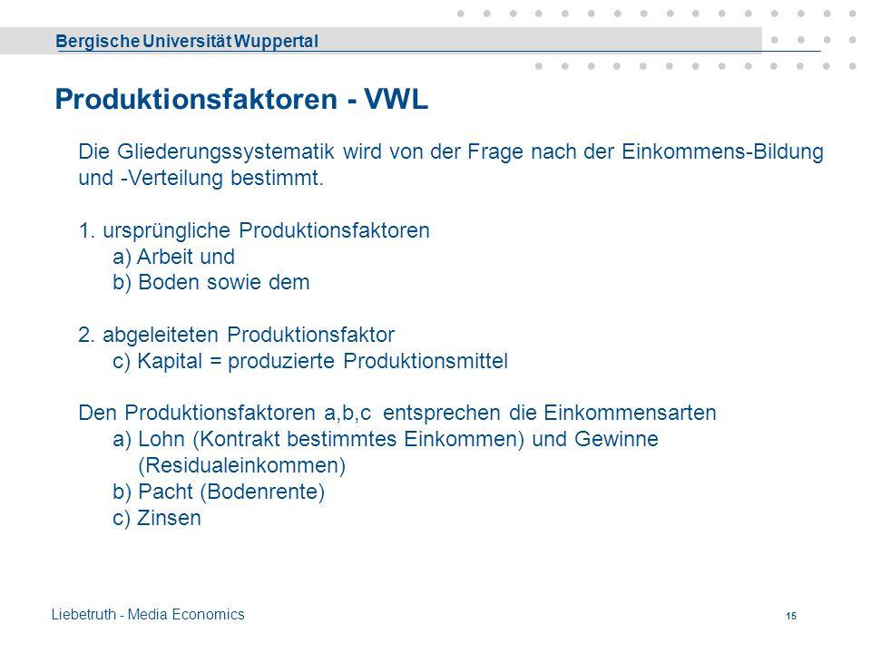 Produktionsfaktoren - VWL