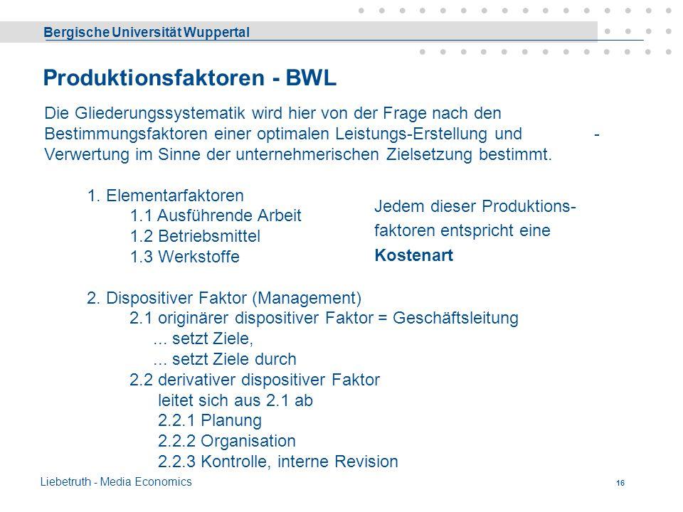 Produktionsfaktoren - BWL