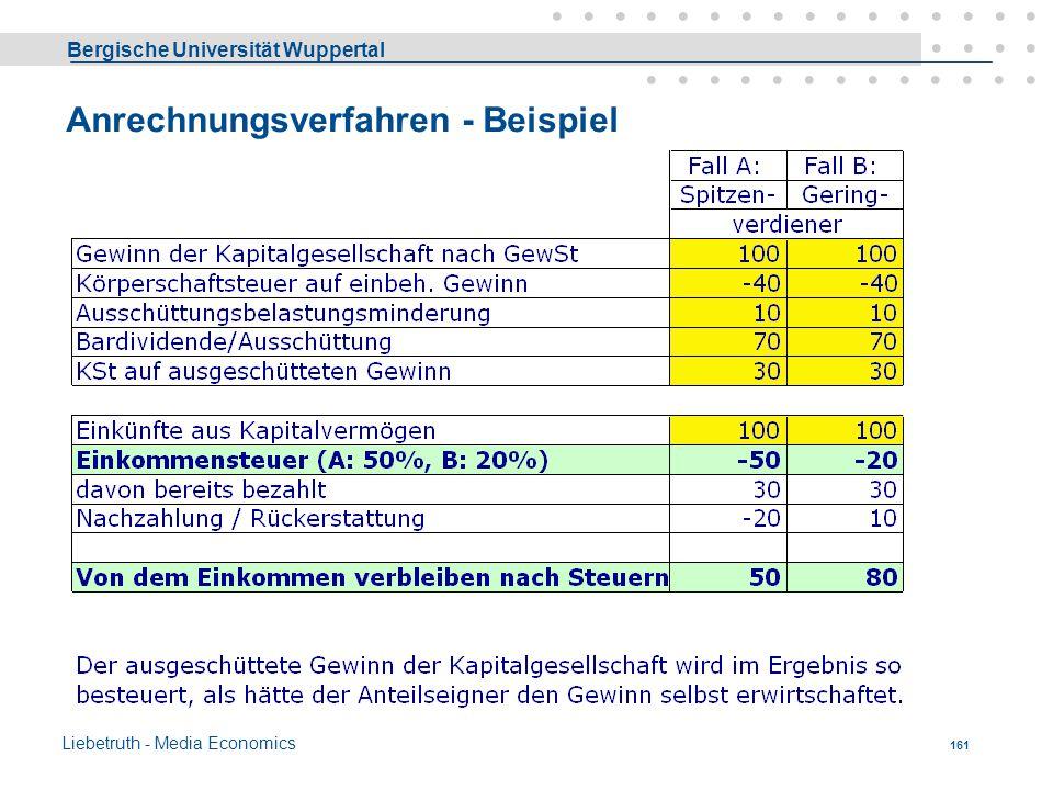 Anrechnungsverfahren - Beispiel