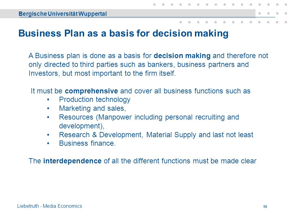 Business Plan as a basis for decision making