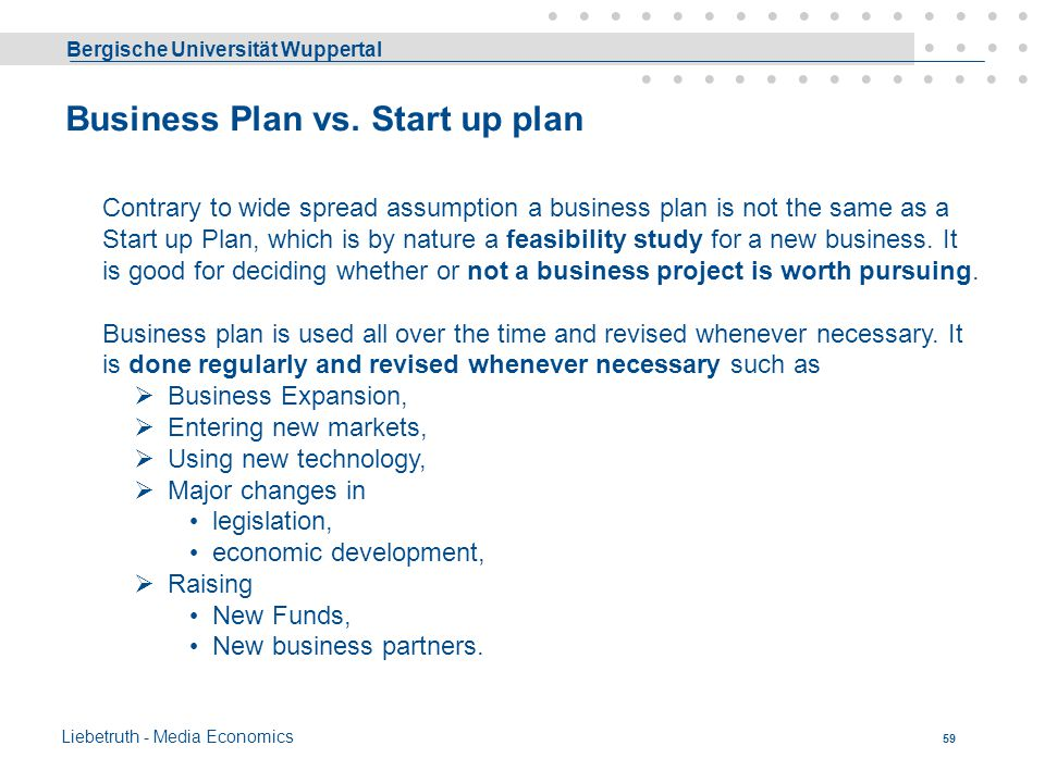 Business Plan vs. Start up plan