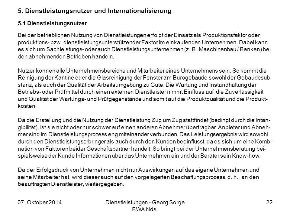 5. Dienstleistungsnutzer und Internationalisierung