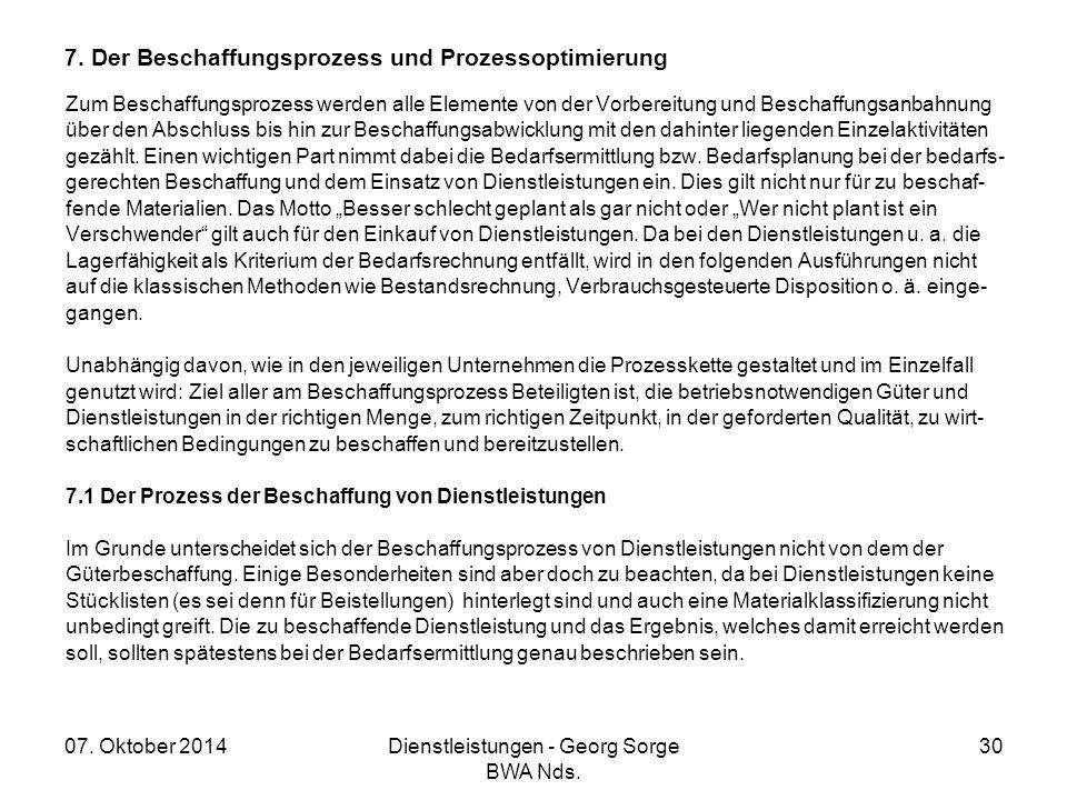 7. Der Beschaffungsprozess und Prozessoptimierung