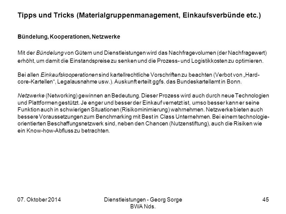 Tipps und Tricks (Materialgruppenmanagement, Einkaufsverbünde etc.)