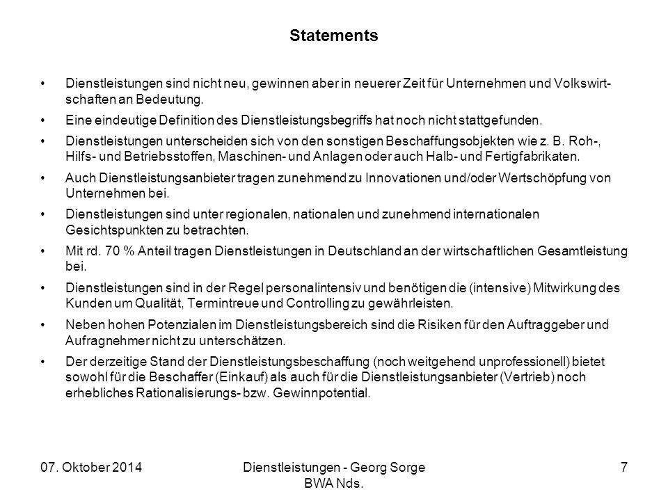 Dienstleistungen - Georg Sorge BWA Nds.