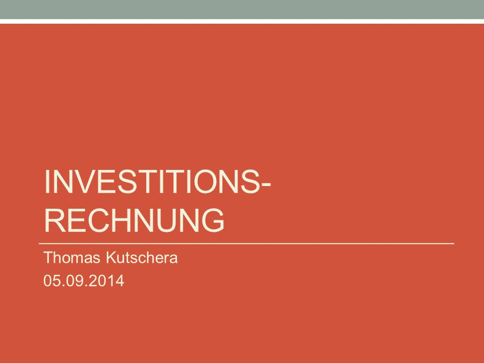 Investitions-rechnung