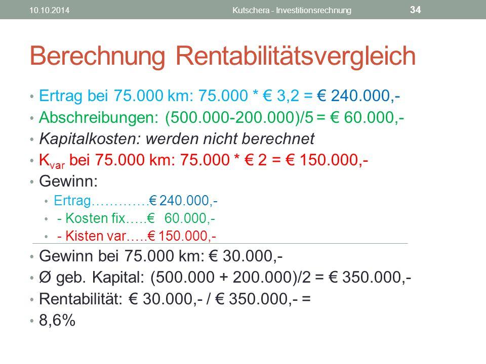 Berechnung Rentabilitätsvergleich