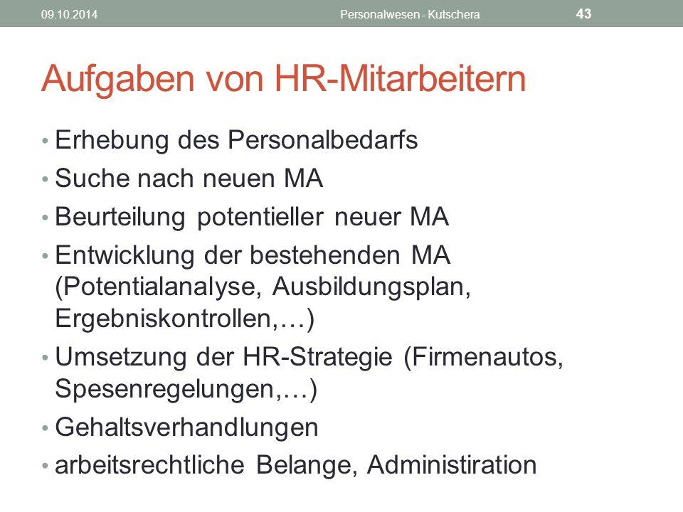 Aufgaben von HR-Mitarbeitern