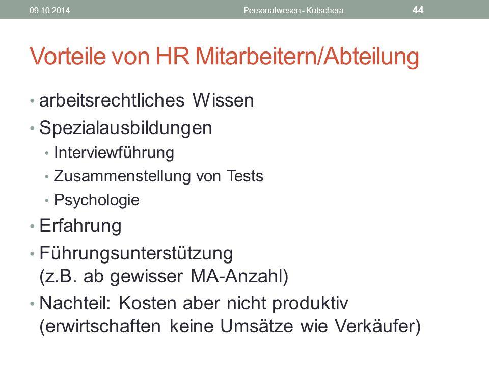 Vorteile von HR Mitarbeitern/Abteilung