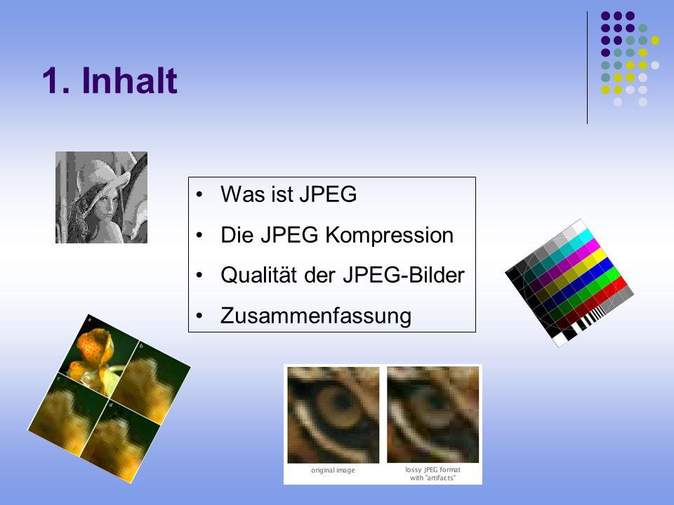 1. Inhalt Was ist JPEG Die JPEG Kompression Qualität der JPEG-Bilder