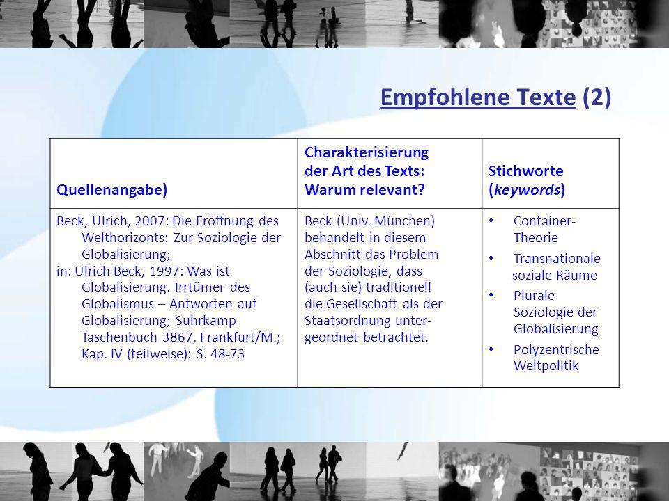 Empfohlene Texte (2) Quellenangabe) Charakterisierung