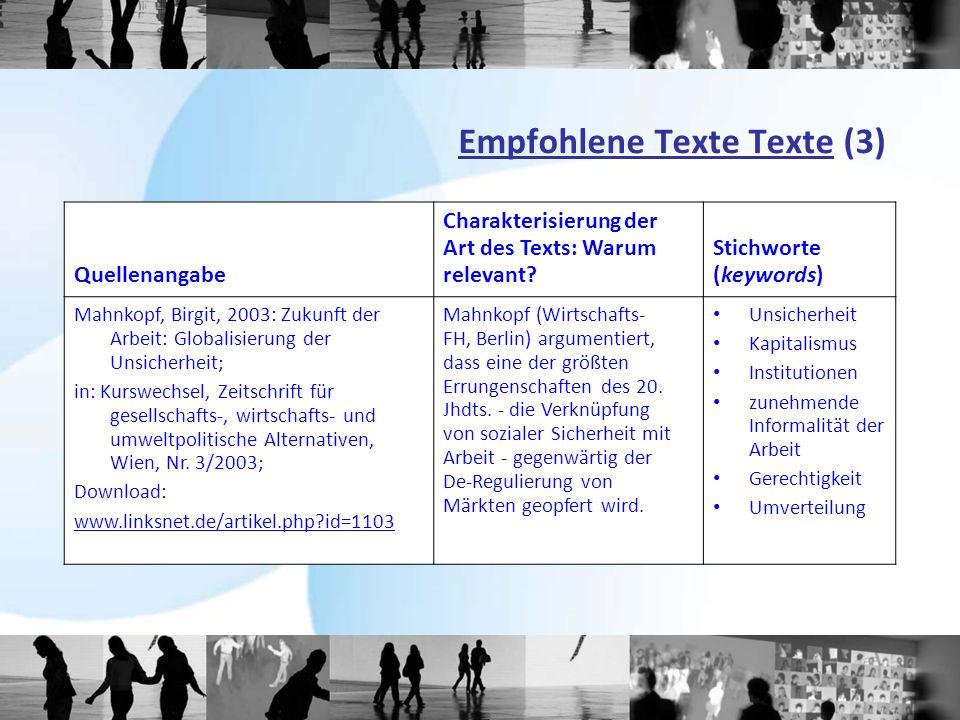 Empfohlene Texte Texte (3)
