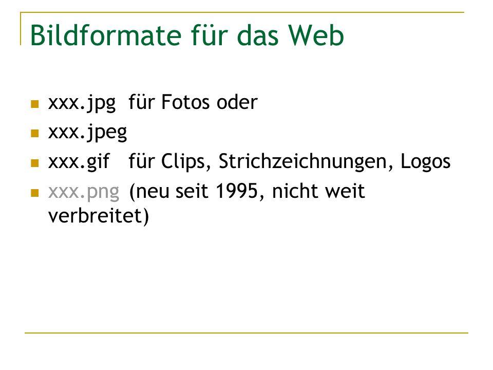 Bildformate für das Web