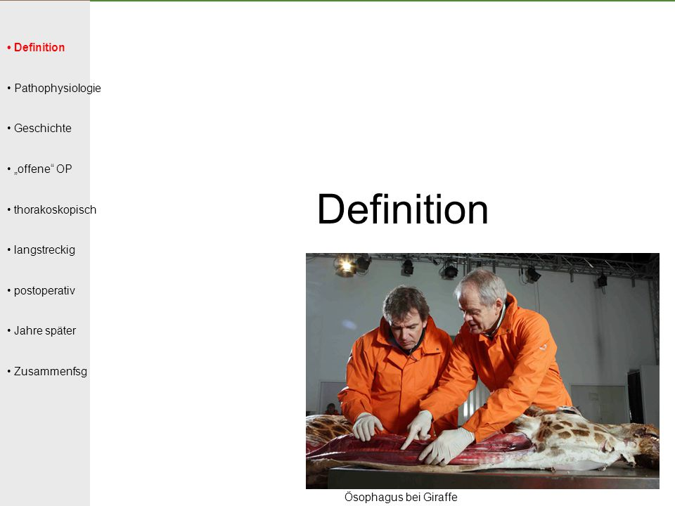 "Definition • Definition • Pathophysiologie • Geschichte • ""offene OP"
