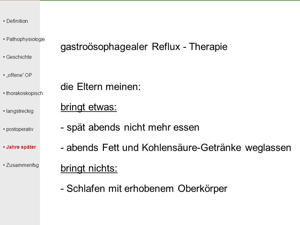 gastroösophagealer Reflux - Therapie